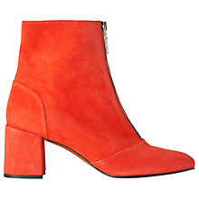 Buy Whistles Rowan Zip Front Ankle Boots, Red Suede Online at johnlewis.com