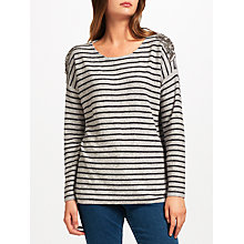 Buy JEFF Crista Embellished Shoulder Jumper, Grey Online at johnlewis.com