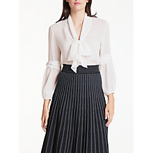 Buy Max Studio Long Sleeve Tie Neck Blouse, Ivory Online at johnlewis.com