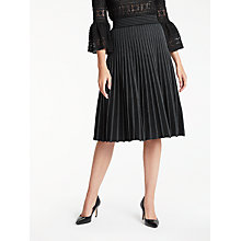 Buy Max Studio Pleated Stripe Skirt, Black/Ivory Online at johnlewis.com