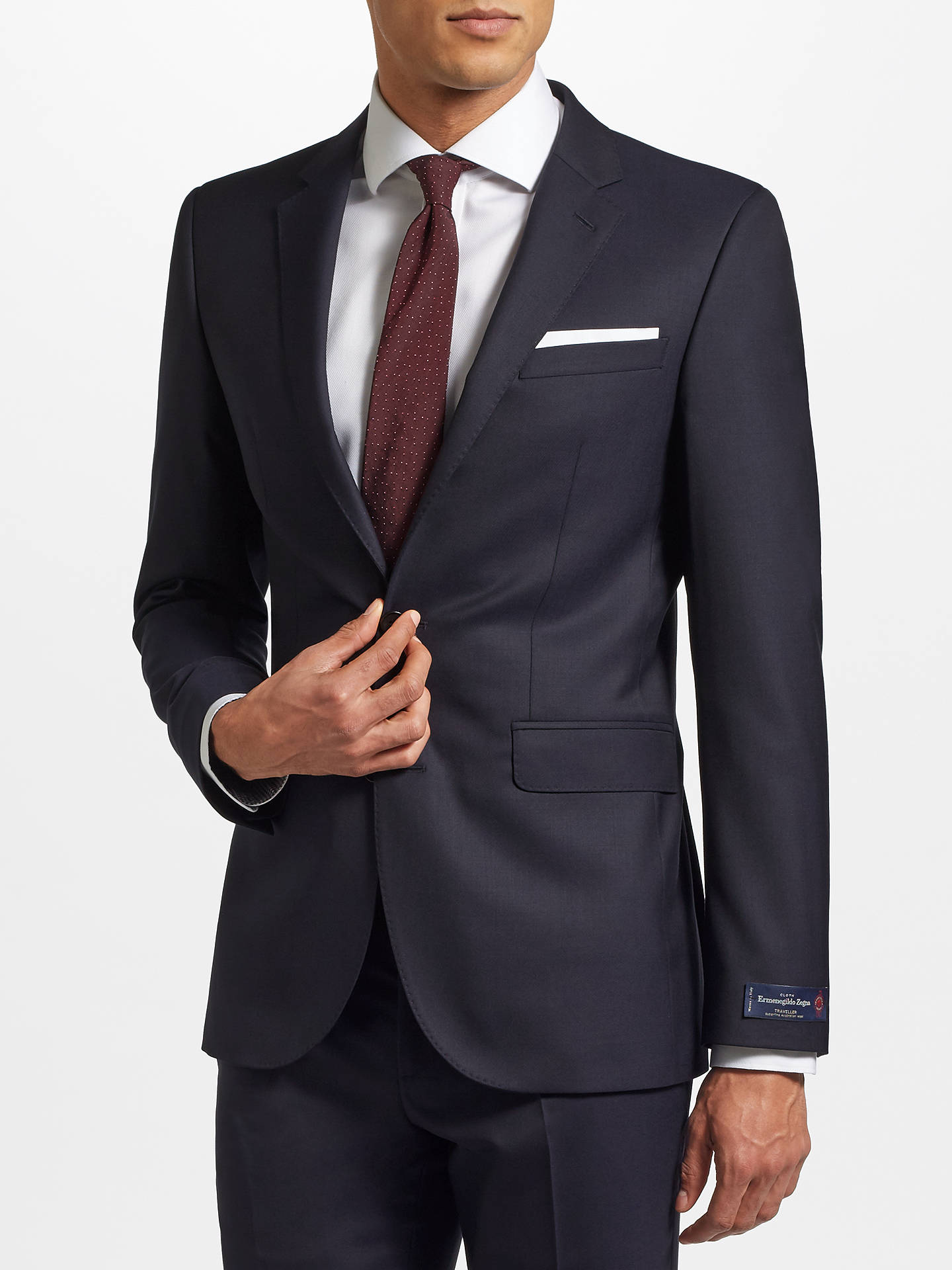 Buy John Lewis & Partners Ermenegildo Zegna Super 160s Wool Twill Half Canvas Tailored Suit Jacket, Navy, 42L Online at johnlewis.com