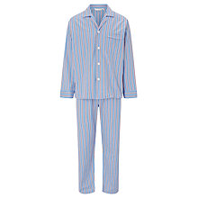 Buy Derek Rose Stripe Cotton Satin Pyjamas, Blue Online at johnlewis.com
