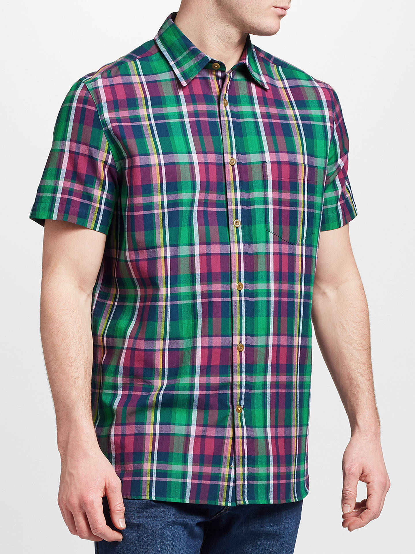 BuyJohn Lewis & Partners Fenton Short Sleeve Check Shirt, Berry, S Online at johnlewis.com