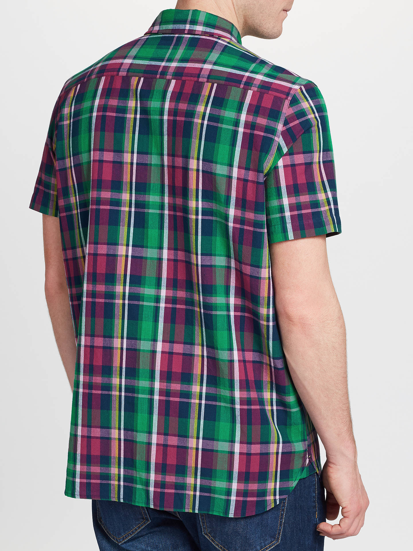 Buy John Lewis & Partners Fenton Short Sleeve Check Shirt, Berry, S Online at johnlewis.com