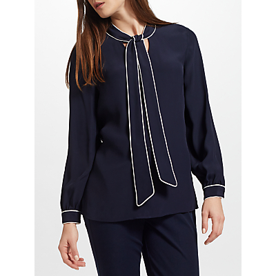 Product photo of John lewis tipped tie neck blouse navy