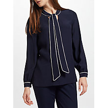 Buy John Lewis Tipped Tie Neck Blouse, Navy Online at johnlewis.com