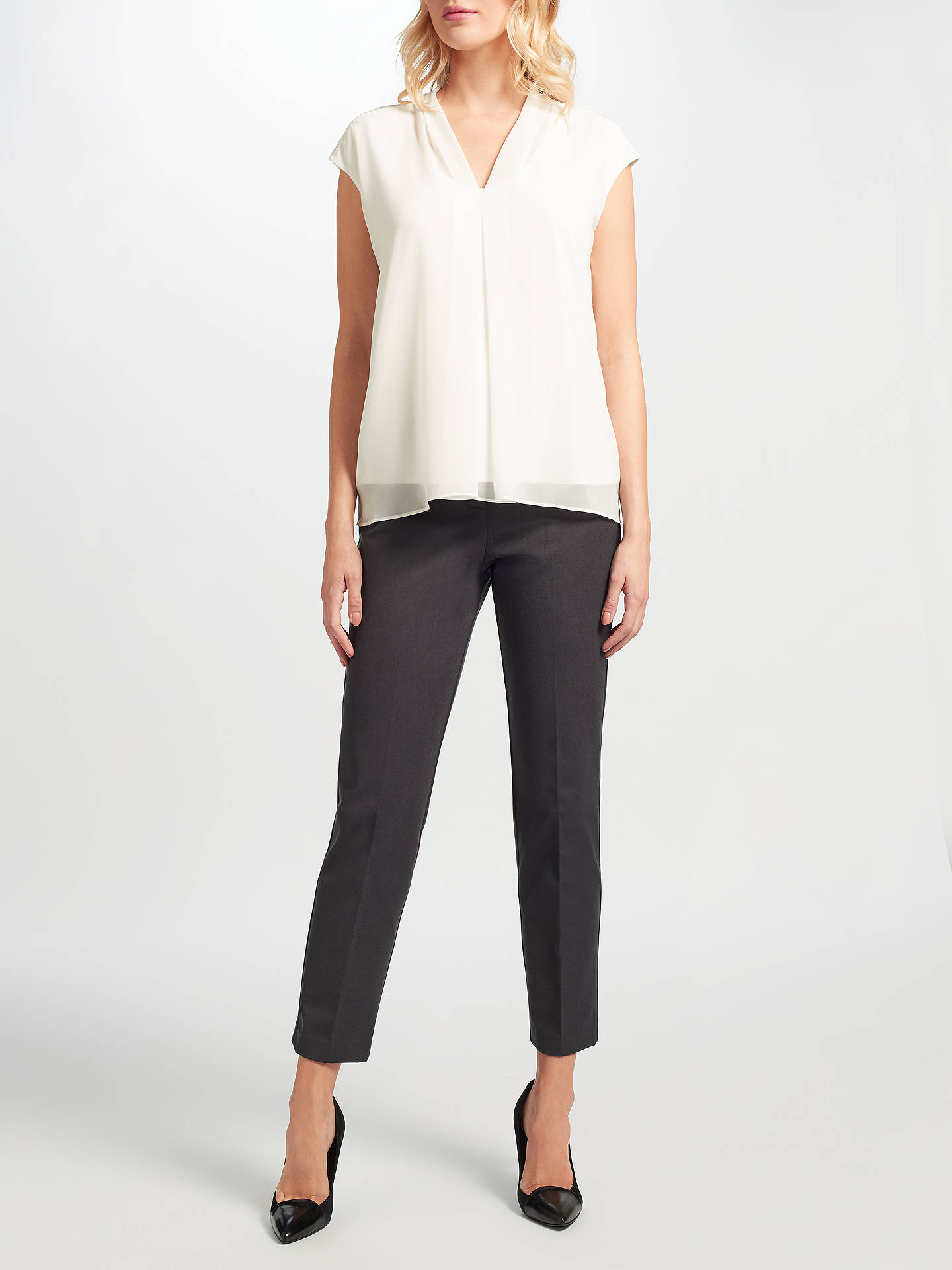 BuyJohn Lewis Cora Pleated Top, White, 8 Online at johnlewis.com