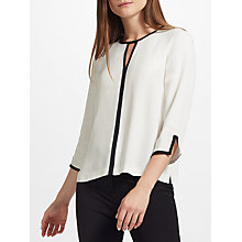 Buy John Lewis Contrast Tipped Blouse, Neutral Online at johnlewis.com