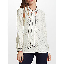 Buy John Lewis Spot Tipped Tie Neck Blouse, White Online at johnlewis.com