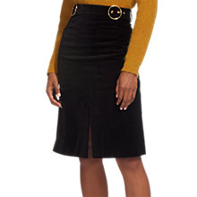 Buy Whistles Double Buckle Velvet Skirt, Black Online at johnlewis.com