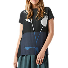 Buy Jigsaw Thistle Silk Front Jumper, Black/Multi Online at johnlewis.com