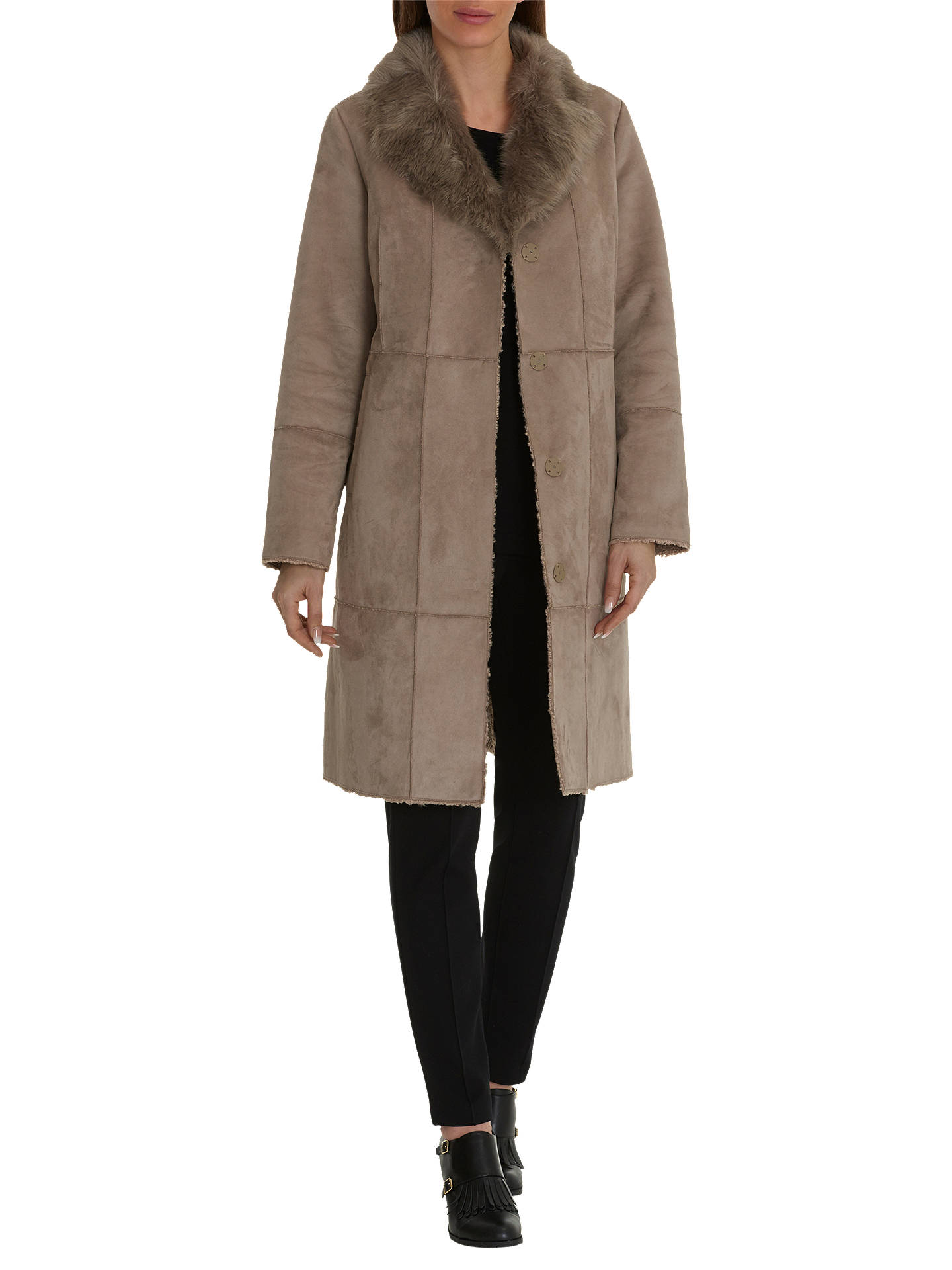 5409ef119242 BuyBetty Barclay Faux Shearling Coat, Moon Rock, 10 Online at johnlewis.com  ...