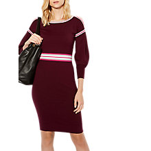 Buy Karen Millen Stripe Knitted Dress, Dark Red Online at johnlewis.com