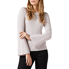 Buy Jigsaw Flare Sleeve Ribbed Jumper, Pink Haze Online at johnlewis.com