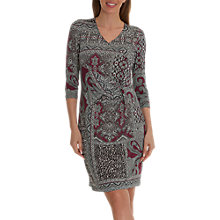 Buy Betty Barclay Paisley Print V Neck Three Quarter Sleeve Shift Dress, Grey/Plum Online at johnlewis.com