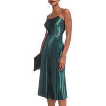 Buy Whistles Satin Pleated Strappy Dress, Mineral Green Online at johnlewis.com