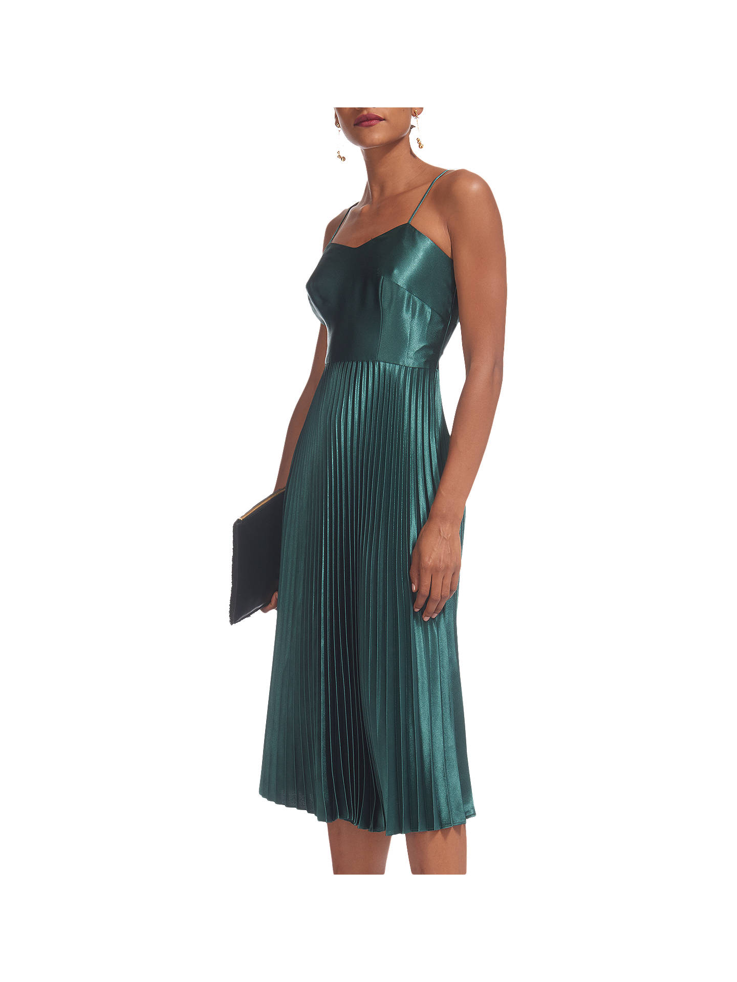 fb8605fc6 Buy Whistles Satin Pleated Strappy Dress, Mineral Green, 6 Online at  johnlewis.com ...