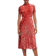 Buy Whistles Harlow Pleated Devore Dress, Orange Online at johnlewis.com