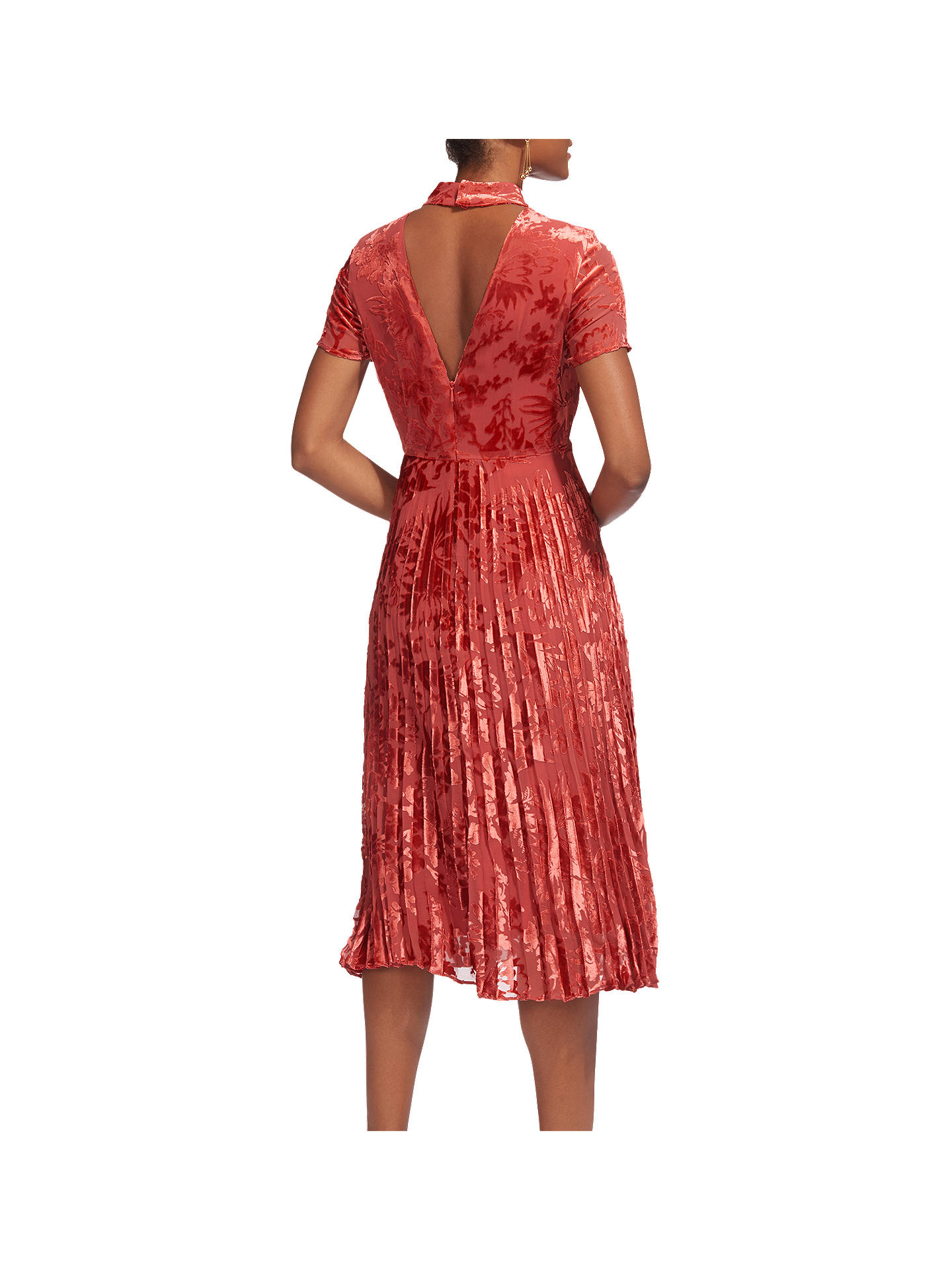 74ca5fc4fa ... Buy Whistles Harlow Pleated Devore Dress, Orange, 6 Online at  johnlewis.com ...