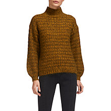 Buy Whistles Textured Funnel Neck Knitted Jumper, Yellow Online at johnlewis.com