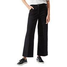 Buy Jigsaw Hoxton Cropped Flare Trousers, Black Online at johnlewis.com