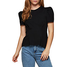 Buy Miss Selfridge Drop Hem Pintuck T-Shirt, Black Online at johnlewis.com