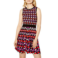 Buy Karen Millen Geometric Knitted A-Line Dress, Red/Multi Online at johnlewis.com