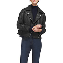 Buy Whistles Erica Oversized Bubble Leather Biker, Black Online at johnlewis.com