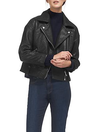 Whistles Erica Oversized Bubble Leather Biker, Black