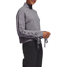 Buy Whistles Lace Up Sleeve Wool Jumper, Grey Marl Online at johnlewis.com