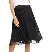Buy Oasis Spot Mesh Gathered Skirt, Black Online at johnlewis.com