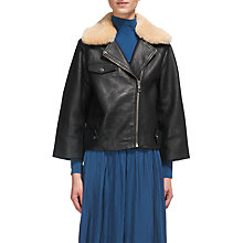 Buy Whistles Eliza Wide Sleeve Leather Jacket, Black Online at johnlewis.com