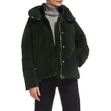 Buy Whistles Iva Velvet Puffer Jacket, Green Online at johnlewis.com
