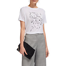 Buy Whistles Athena Face Print T-Shirt, White Online at johnlewis.com