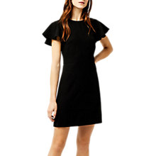 Buy Warehouse Frill Sleeve Crepe Dress, Black Online at johnlewis.com