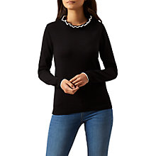 Buy Hobbs Tanya Long Sleeve Jumper, Black/Ivory Online at johnlewis.com