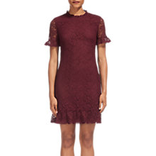 Buy Whistles Lace Frill Shift Dress, Burgundy Online at johnlewis.com