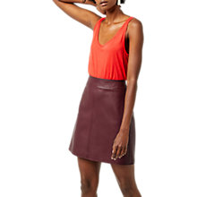 Buy Warehouse Faux Leather A-Line Skirt, Dark Red Online at johnlewis.com