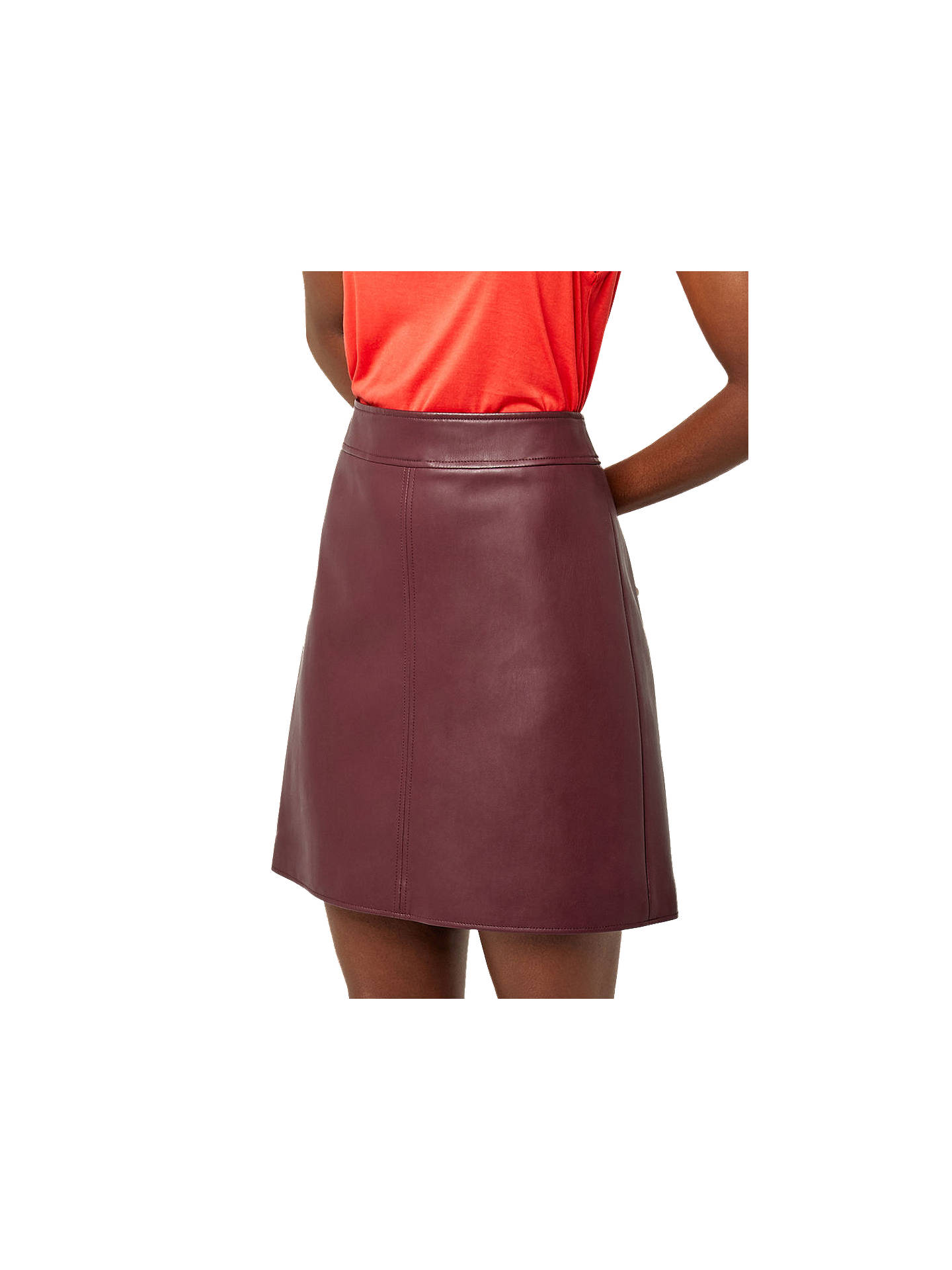 attractivefashion uk cheap sale select for official Warehouse Faux Leather A-Line Skirt, Dark Red at John Lewis ...