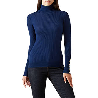 Hobbs Lara Ribbed Roll Neck Jumper, French Navy