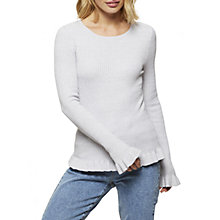 Buy Miss Selfridge Frill Hem Knitted Top, Grey Online at johnlewis.com