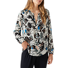 Buy Jigsaw Silk Thistle Print Open Neck Blouse, Ivory Online at johnlewis.com