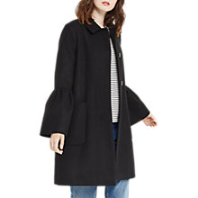 Buy Oasis Kitty Frill Sleeve Coat, Black Online at johnlewis.com