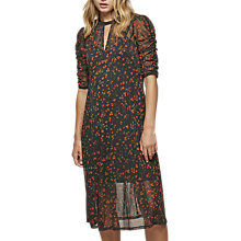 Buy Miss Selfridge Mesh Ruched Sleeve Dress, Multi Online at johnlewis.com