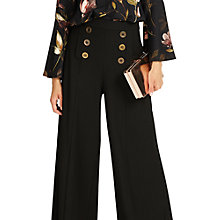 Buy Phase Eight Beatrix Button Wide Leg Trousers, Black Online at johnlewis.com