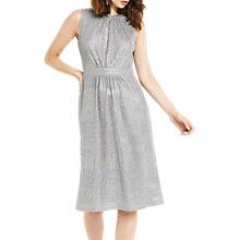 Buy Oasis Geo Foil Gracian Dress, Metallic Pewter Online at johnlewis.com