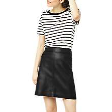 Buy Warehouse Faux Leather A-line Mini Skirt, Black Online at johnlewis.com