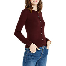Buy Oasis Angel Crew Neckline Cardigan, Burgundy Online at johnlewis.com