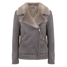 Buy Mint Velvet Faux Fur Aviator Jacket, Light Grey Online at johnlewis.com