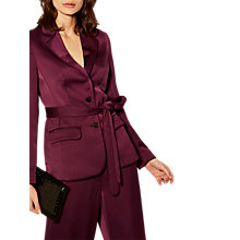 Buy Karen Millen Tailored Belted Blazer, Aubergine Online at johnlewis.com